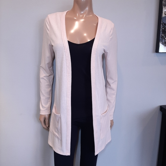 🍁 Ribbed Open Front Longline Knit Cardigan Sweater w Pockets Baby Pastel Pink